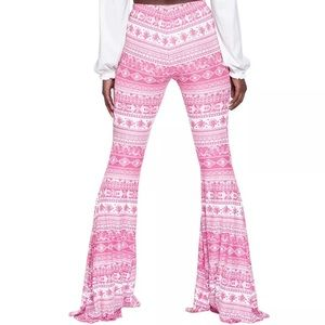 Candy🍬 pink bell bottom flare pants rave festival